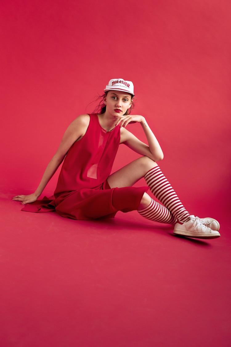 Dress by Zero+Maria Cornejo. Hat by Thrasher. Shoes Vintage Adidas Stan Smith vintage
